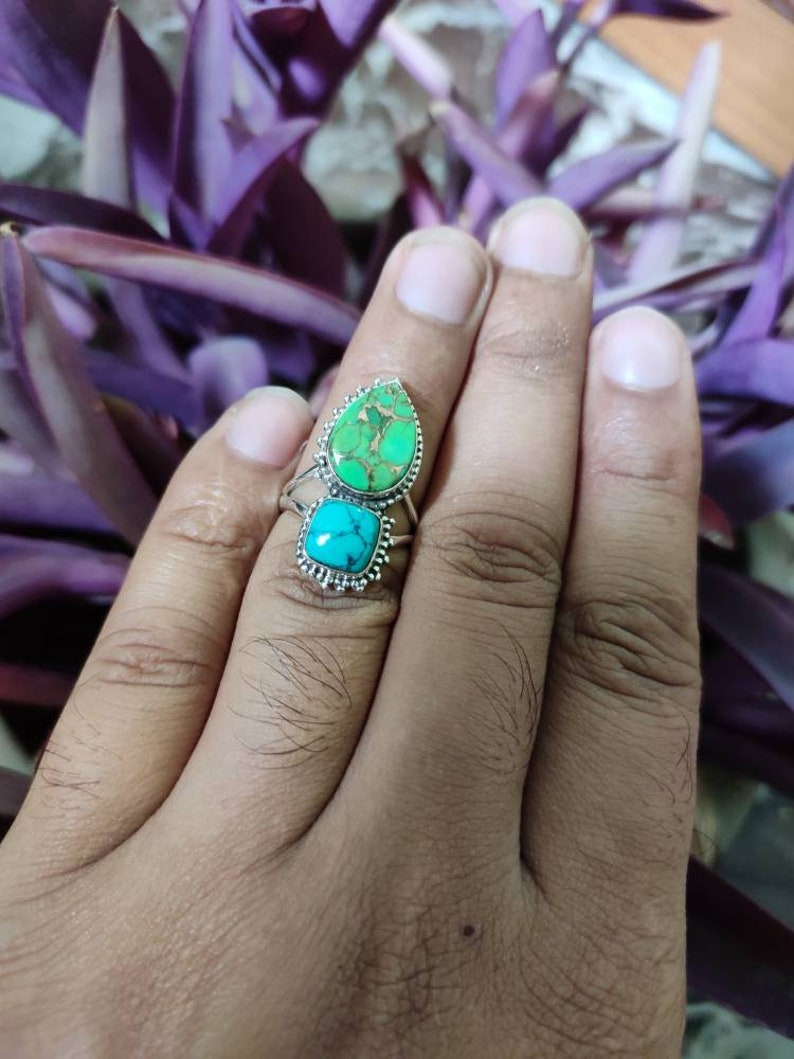 Turquoise Ring 925 Silver Ring Unique Ring Trending Ring Vintage Ring Ultimate Ring Exclusive Ring Bridesmaids Gift Boho Ring Cocktail Ring