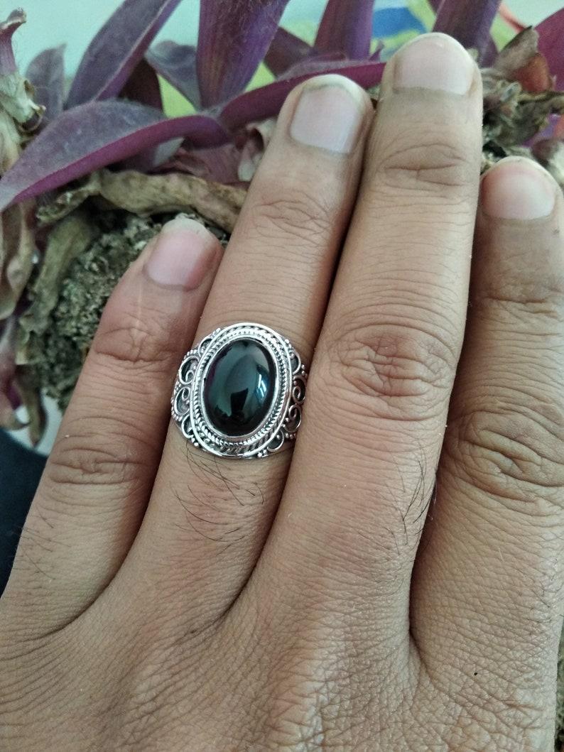 Black Onyx Ring Onyx Sterling Silver Ring Friendship Ring Boho Ring Black Stone Ring Cocktail Ring Onyx Jewelry Black Ring Dainty Ring Gift