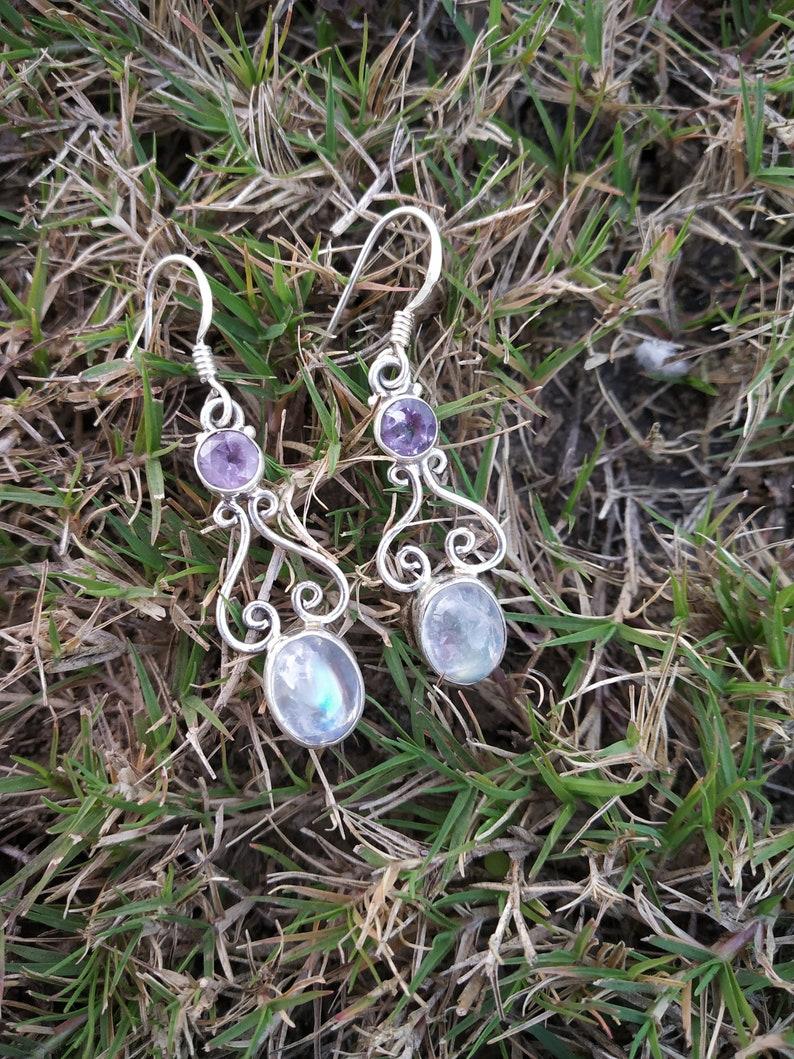 Rainbow Moonstone /& Amethyst Earring Silver Earring June Birthstone Boho Earring Vintage Earring Bridal Gift for Her Engagement Earring Gift