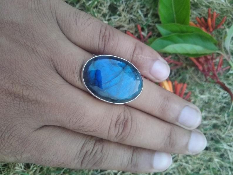 Large Stone Ring Bridesmaid Ring Promise ring Labradorite Ring Sterling Silver Blue Fire Labradorite Ring Boho Ring Anniversary Gift