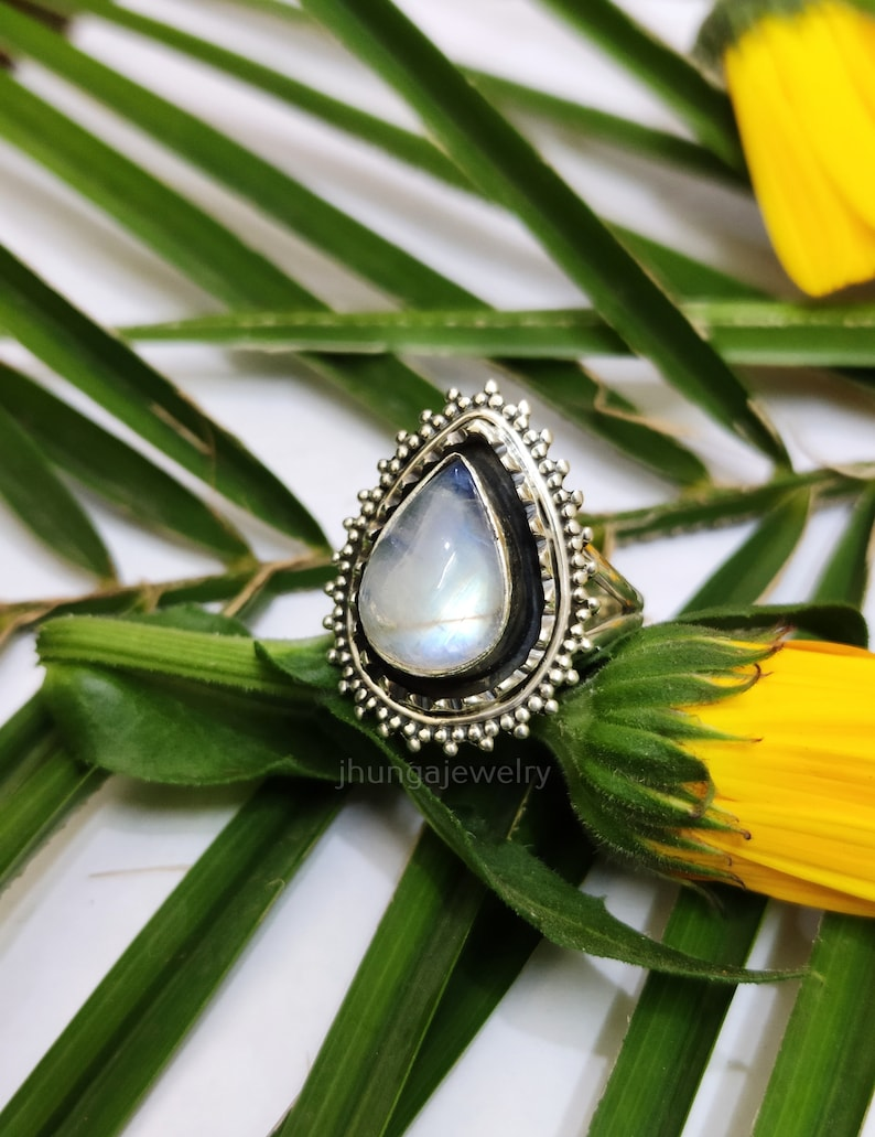 Rainbow Moonstone Ring Sterling Silver Ring June Birthstone Vintage Ring Anniversary Gift Moonstone Jewelry Spiritual Ring Boho Vintage Ring