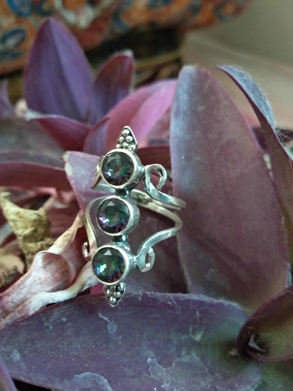 Mystic Topaz Ring 925 sterling Silver Ring,Topaz Ring,Promise Ring Boho Ring,handmade Ring,Dainty Ring,Oval Mystic Topaz Ring,