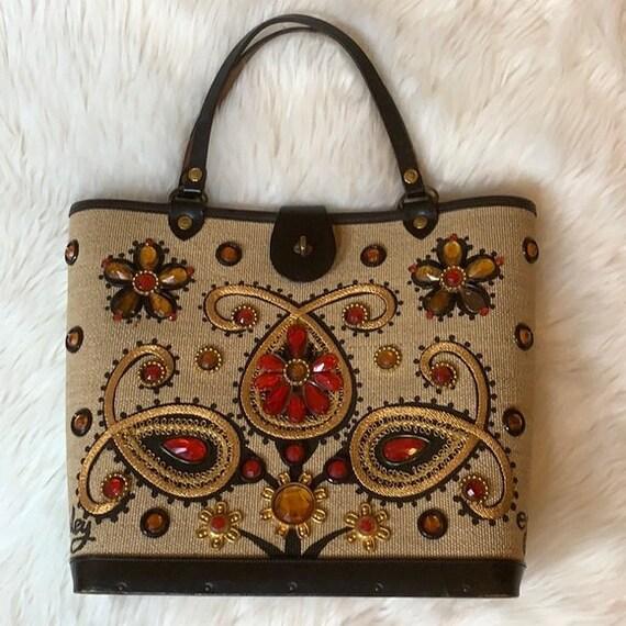 "Vintage Enid Collins ""Paisley"" style jeweled bag"