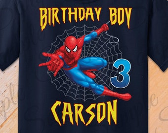 f23a713391f43 Spiderman Birthday Boy any name SVG INSTANT DOWNLOAD Custom Matching  birthday shirt Iron on transfer Printable Party shirt Marvel Super Hero