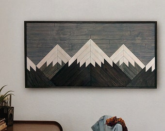 Wooden Mountain Art Etsy