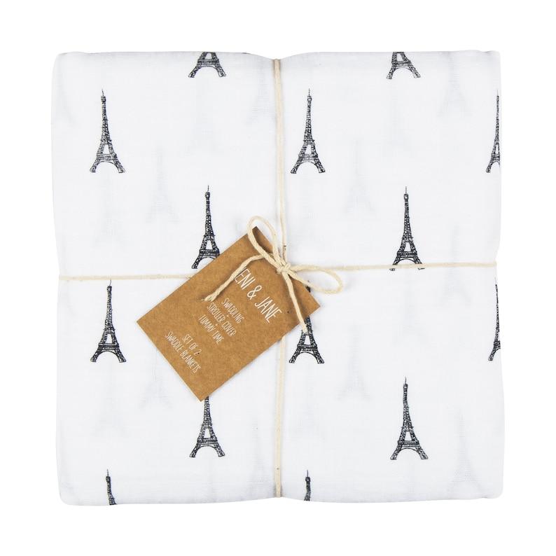 Jeni and Jane Paris Baby Swaddle Blankets Set of 2