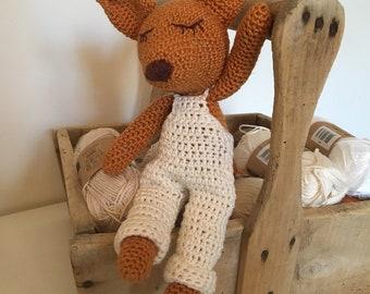 0a933b84c716 Doudou amigurumi renard version garçon au crochet fait main personnalisé  avec prénom Idéal cadeau de naissance Bébé ou cadeau anniversaire