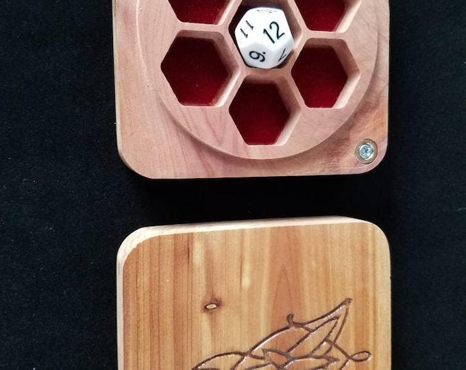 Evenstar dice box, cedar, glow in the dark
