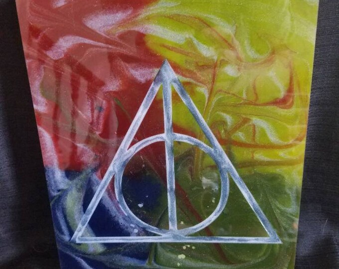 Deathly Hallows resin art, glow in the dark