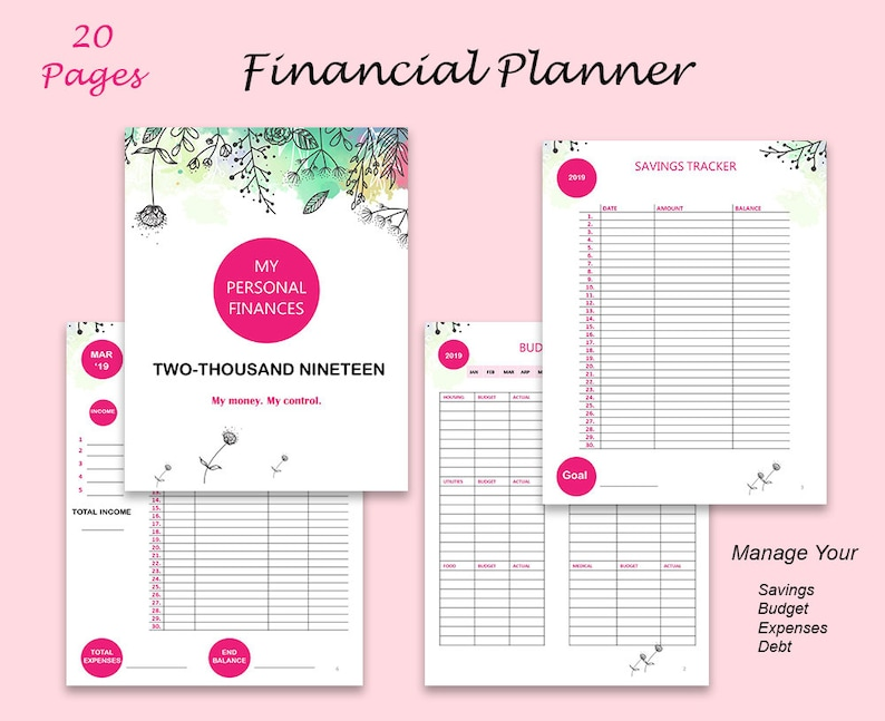 photo about Printable Financial Planner named 2019 Printable Economical Planner, Printable Spending budget Planner, Financial debt Snowball Tracker, Preserving Tracker, Price tag Tracker, Finances Printable Planner