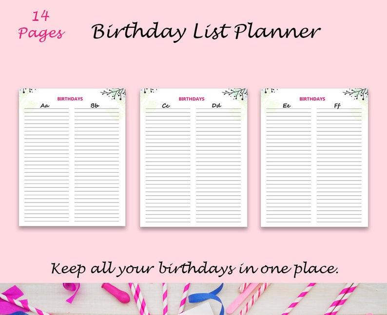 photo relating to Birthday List Printable identified as Printable Birthday Planner, Birthday Checklist, Printable Birthday Tracker, Alphabetical Birthday, Birthday Calendar, Birthday Reminder, PDF,
