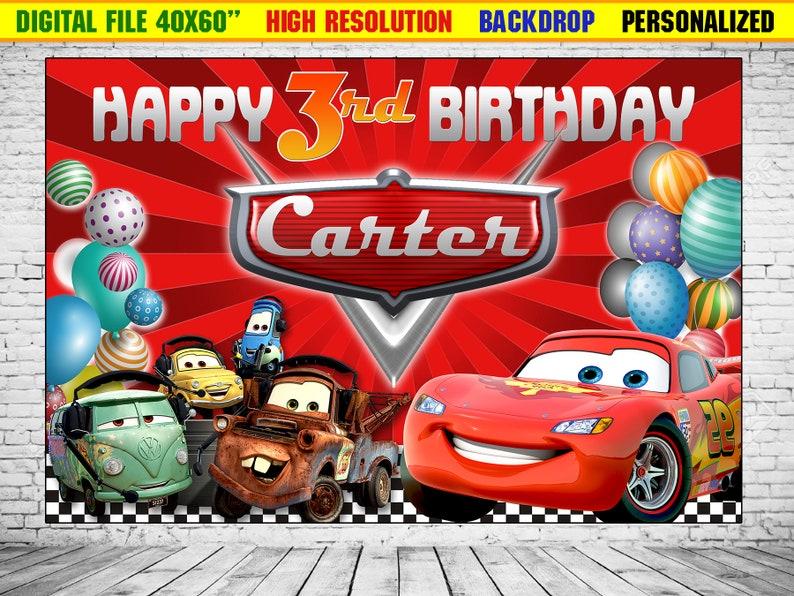 Cars Backdrop Birthday Cars Background Cars Lightning Etsy