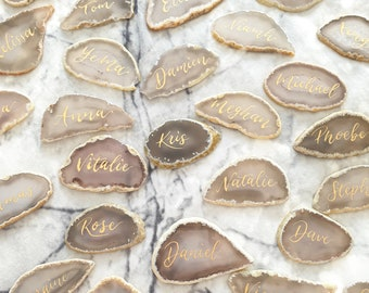 Agate Place Card, Calligraphy Name Card, Wedding Decor, Natural Agate Slice, Wedding Favour