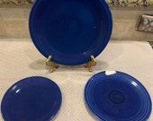 Vintage Cobalt Blue Fiesta Dinnerware, 1 Luncheon plate, 2 salad or dessert plates
