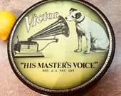 Bristolware RCA Victor His Masters Voice tin round vintage small dog black gold