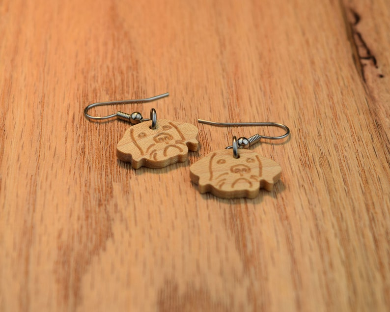 Solid Maple Dog Dangle Earrings