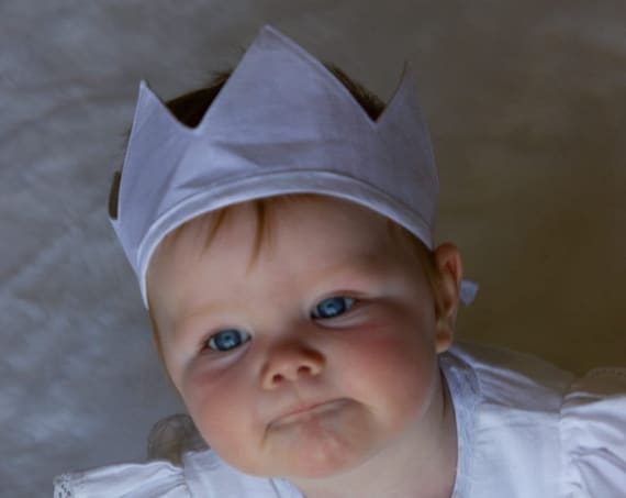 Linen Crown, Birthday, 1st Birthday, Photo Prop, White, Fabric Crown, Kids Crown, Size Short