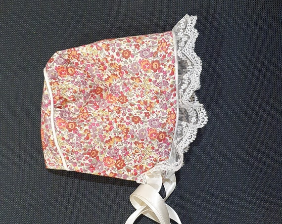 Liberty of London Baby Bonnet, With Lace Ruffle Trim,