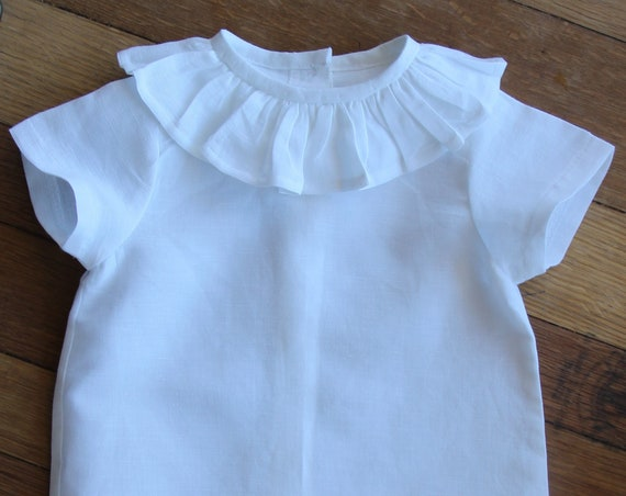 Wide Ruffle Shirt, Baby Boy, Baby Girl, Linen, Short Sleeve Shirt, Toddler, Size 3m-3yrs, Made to Order