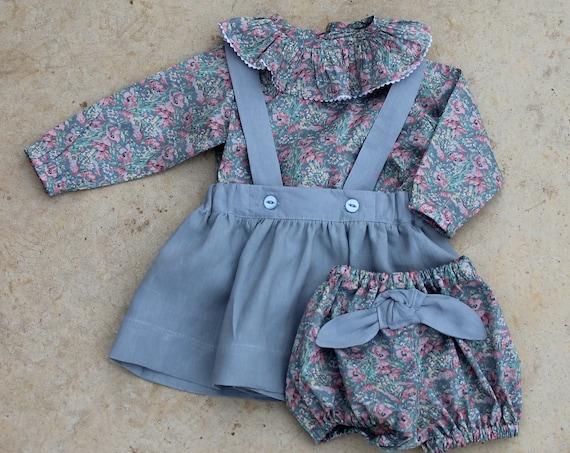 Liberty & Linen Pinafore Set, Liberty of London Ruffle Shirt, Linen Pinafore and matching Bloomers