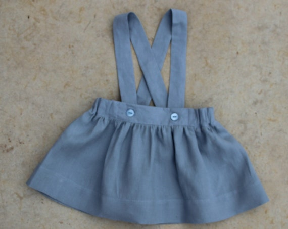 Linen Suspender Style Pinafore, Toddler, Size 3m-3yrs, Made to Order