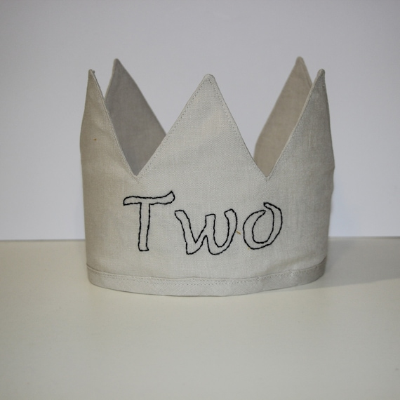 Personalised Linen Crown,2nd Birthday, Fabric Crown, Kids Crown, Size Tall