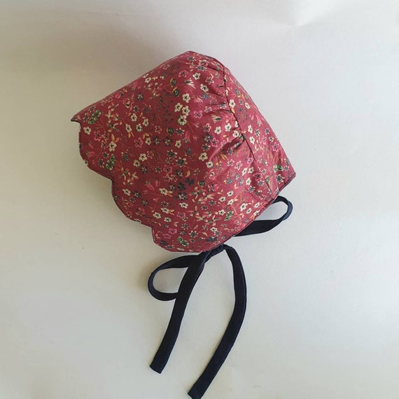 Lola, Handmade Liberty & Linen Reversible Baby Bonnet, With Scallop Brim,