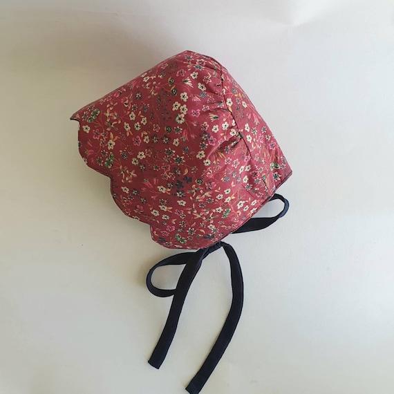 Lola, Handmade Liberty & Linen Reversible Baby Bonnet, With Scallop Brim,