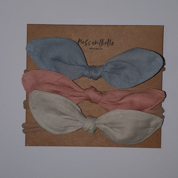 Set of 3 Linen Baby Headbands, Linen Baby Headband, Bow Headband