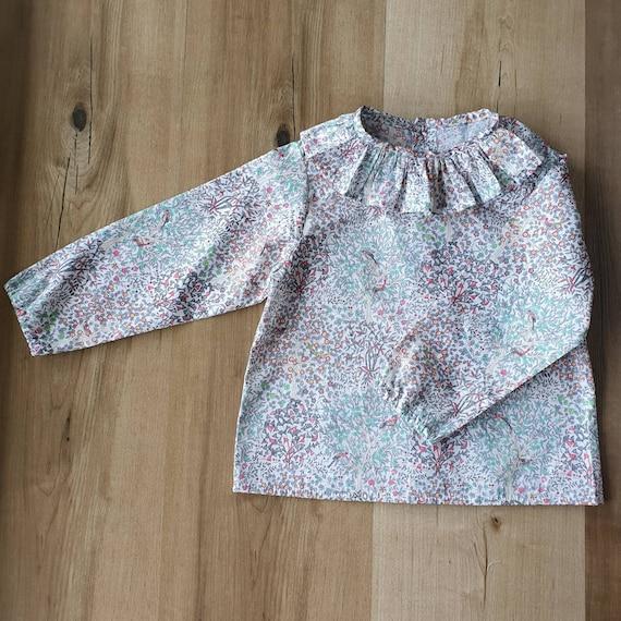 Ruffle Shirt, Baby Boy, Baby Girl, Liberty of London, Long Sleeve Shirt, Toddler, Size 3m-3yrs, Made to Order