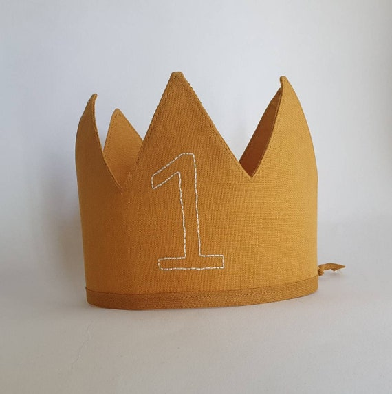 Personalised Linen Crown,1 st Birthday, Fabric Crown, Kids Crown, Size Tall