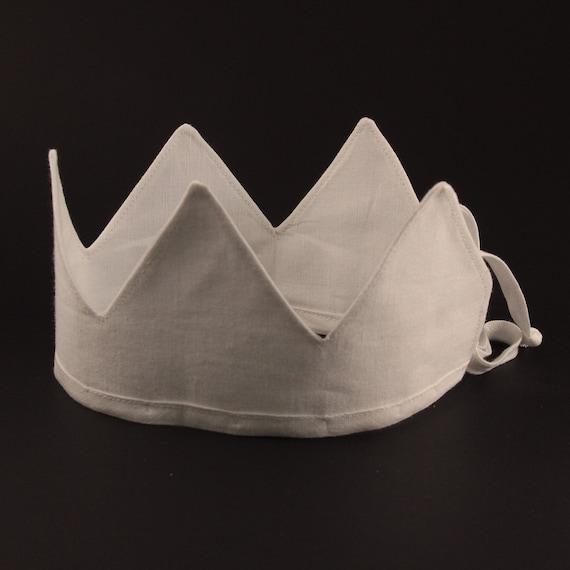 Linen Crown, Birthday, 1st Birthday, Photo Prop, White, Fabric Crown, Kids Crown, Size Short
