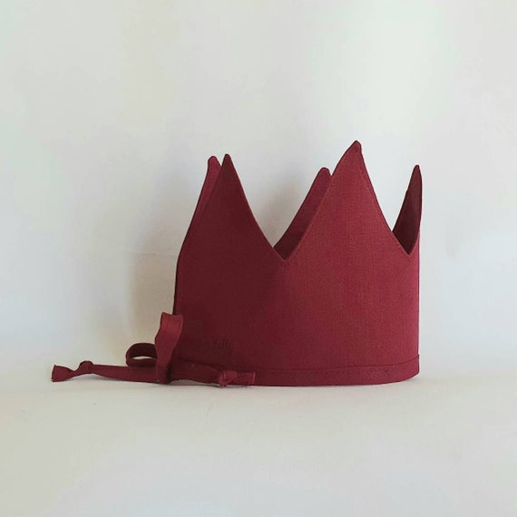 Linen Crown, Birthday, 1st Birthday, Photo Prop, Marsala, Fabric Crown, Kids Crown, Size Tall