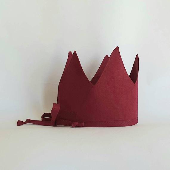 Linen Crown, Birthday, 1st Birthday, Photo Prop, Marsala, Fabric Crown, Kids Crown, Size Tall