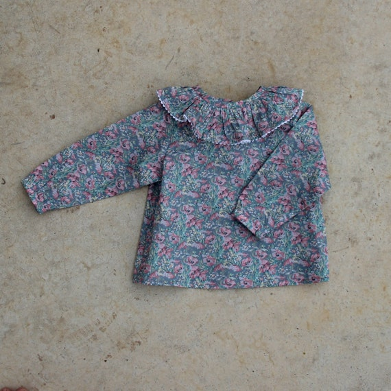 Liberty Ruffle Shirt,  Liberty of London, Long Sleeve Shirt, Toddler, Size 3m-3yrs, Made to Order