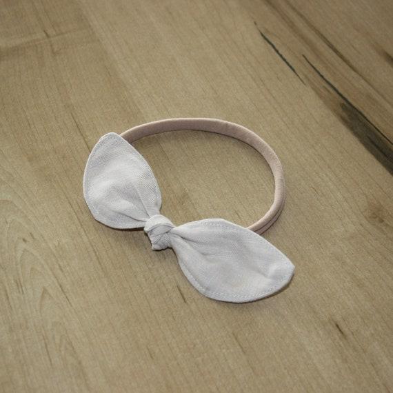 Linen Baby Headband, Bow Headband