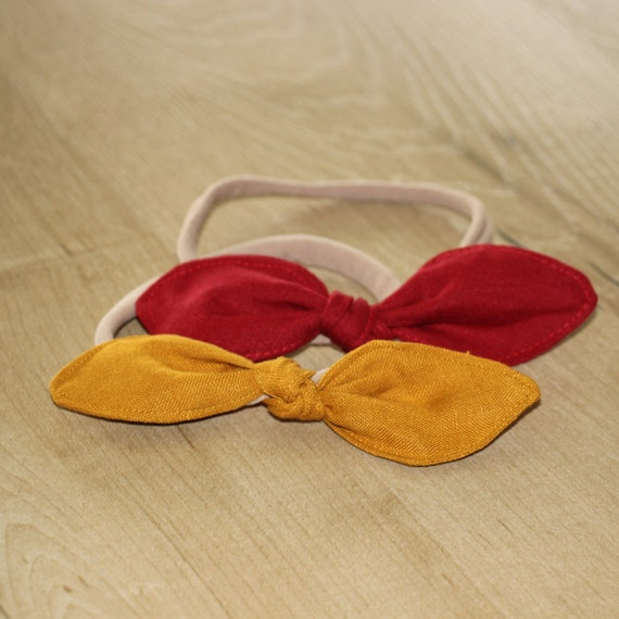 Set of 2 Linen Baby Headbands, Linen Baby Headband, Bow Headband