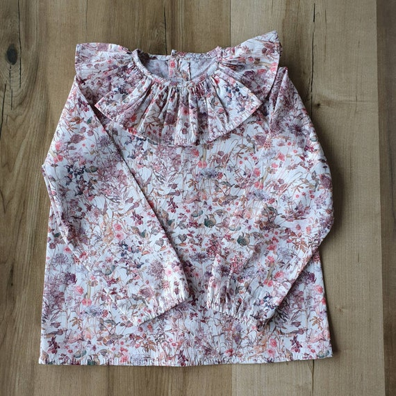 Ruffle Shirt, Baby Boy, Baby Girl, Liberty of London, Kitty Grace, Long Sleeve Shirt, Toddler, Size 3m-3yrs, Made to Order