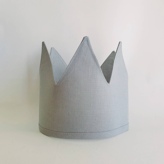 Linen Crown, Birthday, 1st Birthday, Photo Prop, Duck Egg Blue, Fabric Crown, Kids Crown, Size Tall