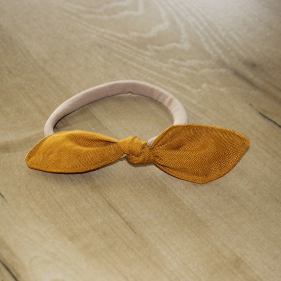 Bow Baby Headband, Soft Baby Headband, Linen Baby Headband,