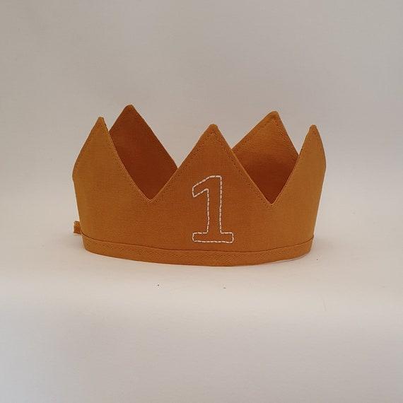 Personalised Birthday Linen Crown,1 st Birthday, Fabric Crown, Kids Crown, Size Short