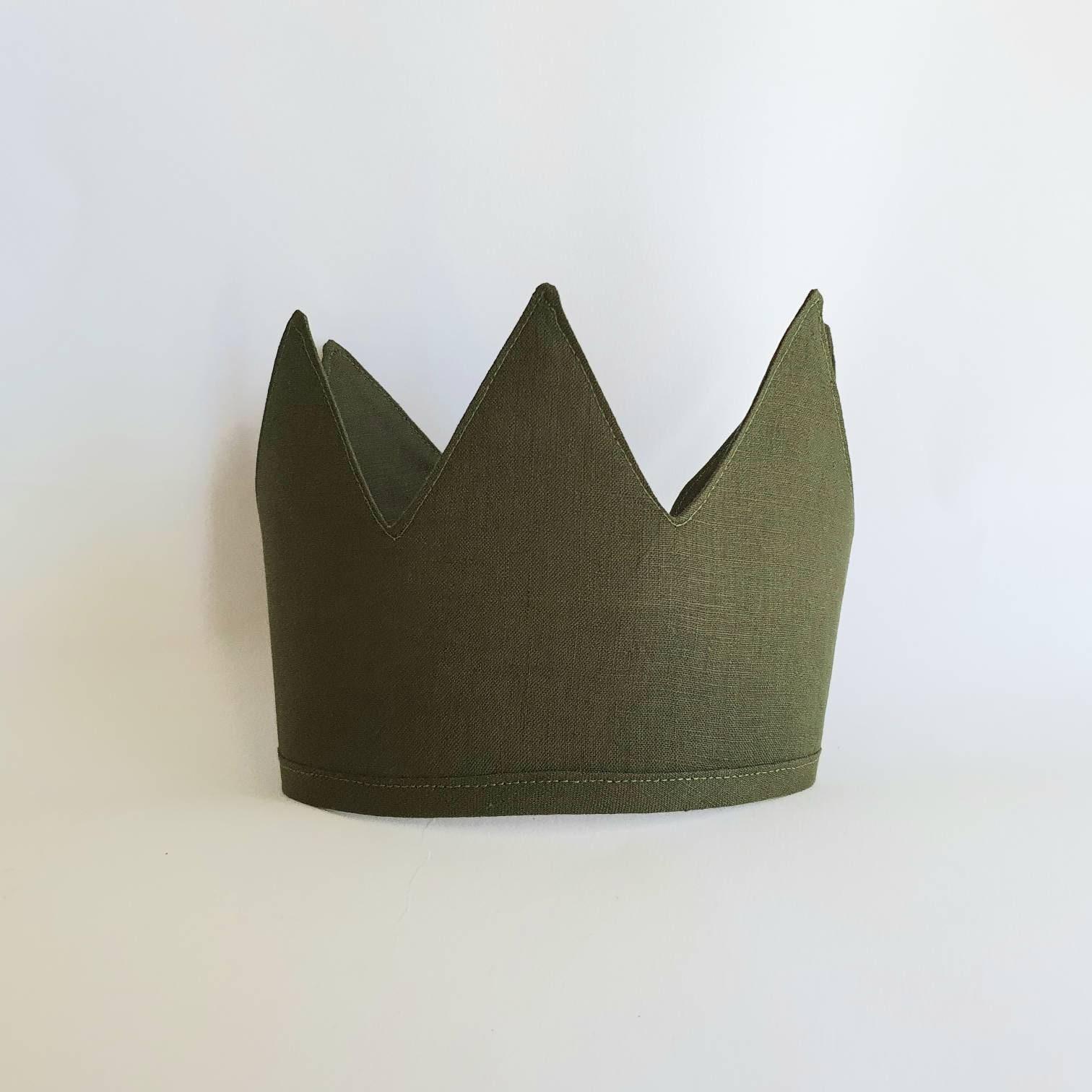 Bone Size Tall 1st Birthday Kids Crown Linen Crown Photo Prop Fabric Crown Birthday