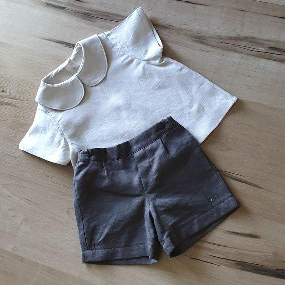 Linen Toddler Shirt & Shorts, Wedding Shorts Set, Ring Bearer Outfit, Size 3m-3yrs, Made to Order