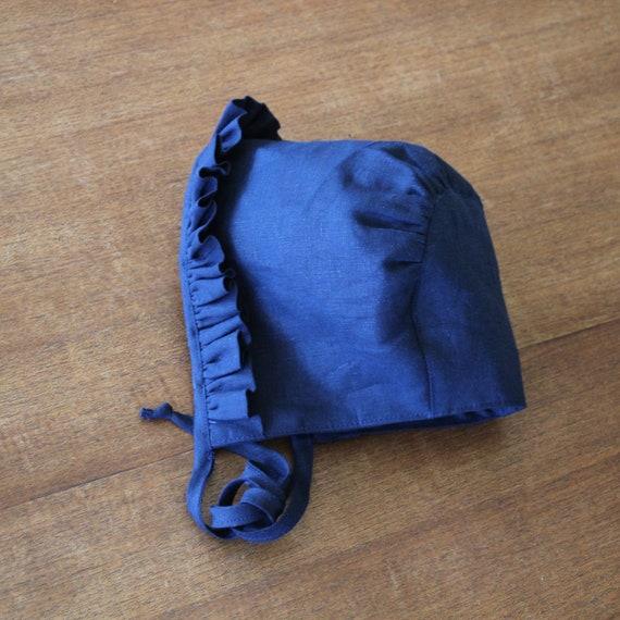 Lottie, Handmade Navy Linen Baby Bonnet, With Front Ruffle Trim,