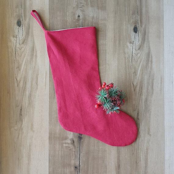 Linen Christmas Stocking - Reusable Christmas Stocking