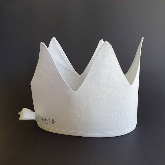 Linen Crown, Birthday, 1st Birthday, Photo Prop, White, Fabric Crown, Kids Crown, Size Tall