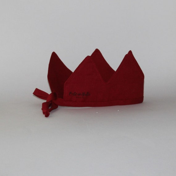Linen Crown, Birthday, 1st Birthday, Photo Prop, Ruby Red, Fabric Crown, Kids Crown, Size Short