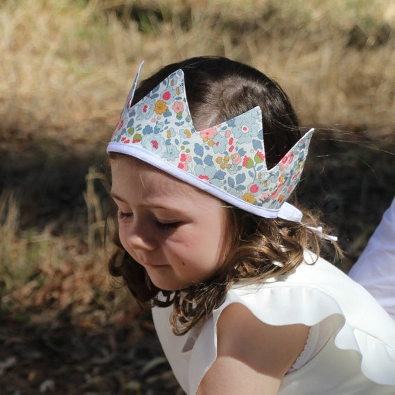 Liberty Crown, Birthday, 1st Birthday, Photo Prop, Floral, Fabric Crown, Kids Crown, Size Short