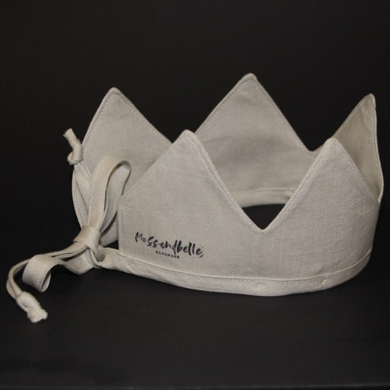 Linen Crown, Birthday, 1st Birthday, Photo Prop, Bone, Fabric Crown, Kids Crown, Size Short