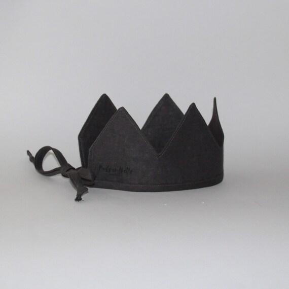 Linen Crown, Birthday, 1st Birthday, Photo Prop, Gravel, Fabric Crown, Kids Crown, Size Short